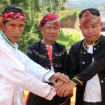 'They cannot return.' Subanen leaders Timuays Casiano Edal and Lucenio Manda (left and right, respectively) both from Bayog, Zamboanga del Sur, and Isis Guilingan of Sindangan (center)  from Zamboanga del Norte show their solidarity and irrefutably express their strong opposition to reports that illegal miners from Balabag will operate again in TVIRD's 4,779-hectare MPSA area.
