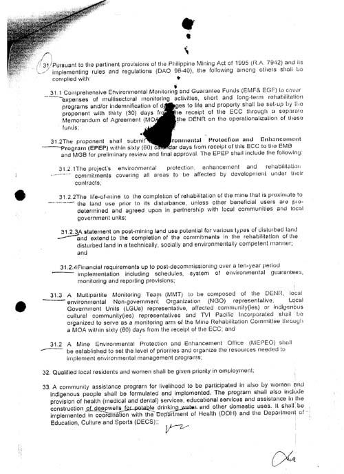 ENVIRONMENTAL COMPLIANCE CERTIFICATE(ECC) 003