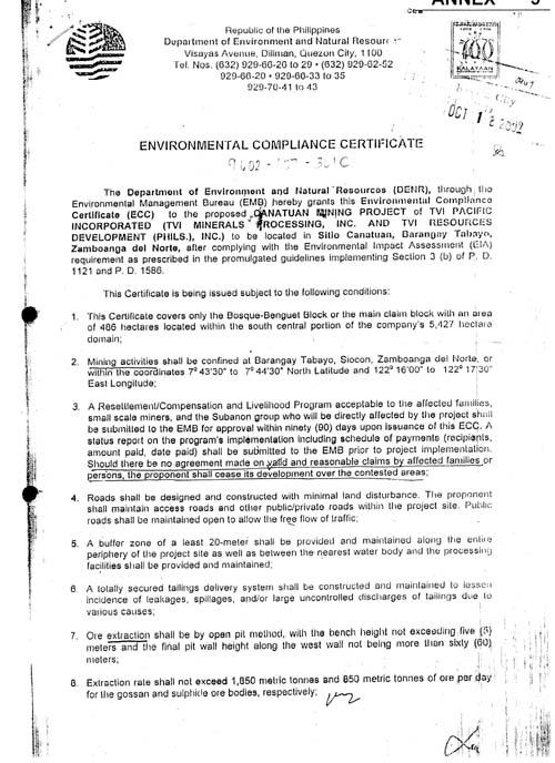 Tvird environmental compliance certificate tvi resource development phils inc - Compliance officer certificate ...