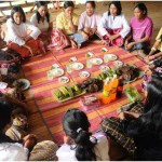 "The Subanen ""Buklog"" ritual. (In photo): Women of the Subanen tribe conduct the ritual of Buklog every seven years as thanksgiving, cleansing and supplication for a good harvest and blessings. Since it began its mining operations in 1995, TVIRD has endeavored to protect and preserve the Subanen culture via sustainable development projects hinged on education, livelihood, health and infrastructure."