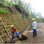 All set and ready.  Crew under the TVIRD's Civil Engineering Services Department conducts landscaping works in the area along the newly-constructed 10-kilometer all-weather access road to Sitio Balabag, town of Bayog in Zamboanga del Sur – site of TVIRD's gold-silver project.